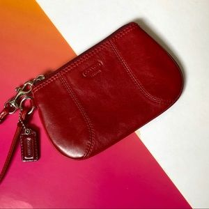 Coach Vintage Cranberry Red Leather Wristlet Purse